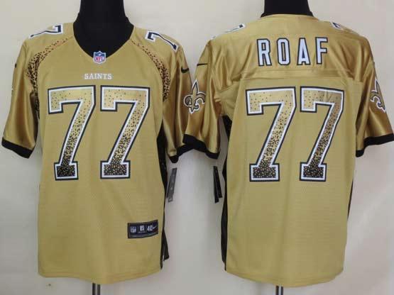 Mens Nfl New Orleans Saints #77 Roaf Drift Fashion Gold Elite Jersey