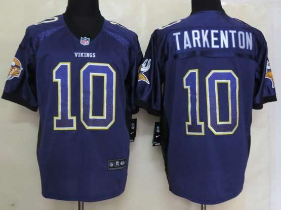 Mens Nfl Minnesota Vikings #10 Tarkenton Drift Fashion Purple Elite Jersey