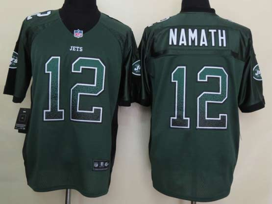 Mens Nfl New York Jets #12 Namath Drift Fashion Green Elite Jersey
