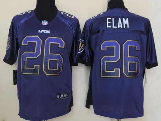 Mens Nfl Baltimore Ravens #26 Matt Elam Drift Fashion Purple Elite Jersey
