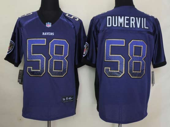 Mens Nfl Baltimore Ravens #58 Elvis Dumervil Drift Fashion Purple Elite Jersey