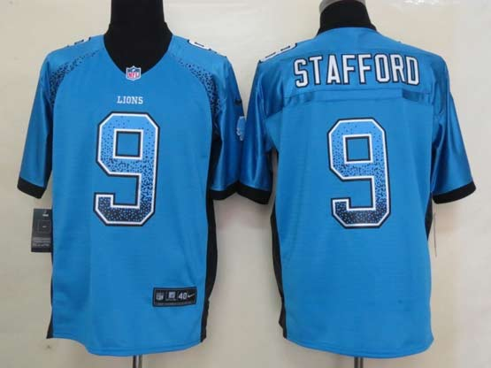 Mens Nfl Detroit Lions #9 Stafford Drift Fashion Blue Elite Jersey