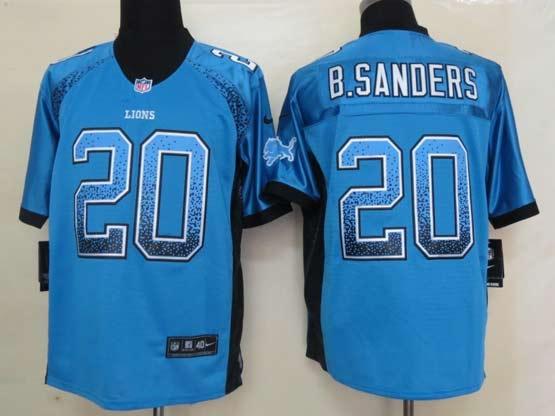 mens nfl Detroit Lions #20 Barry Sanders drift fashion blue elite jersey