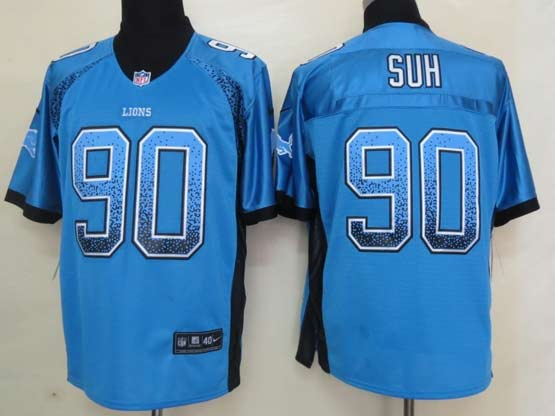 Mens Nfl Detroit Lions #90 Suh Drift Fashion Blue Elite Jersey