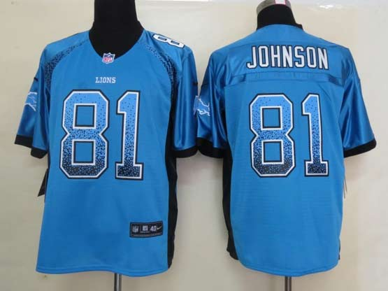 Mens Nfl Detroit Lions #81 Johnson Drift Fashion Blue Elite Jersey