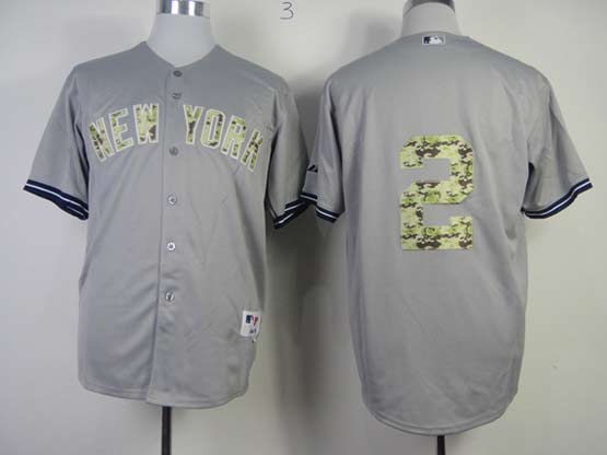 Mens mlb new york yankees #2 jeter gray camo number (no name) Jersey