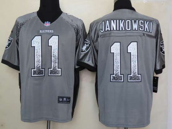 Mens Nfl Oakland Raiders #11 Janikowski Drift Fashion Gray Elite Jersey