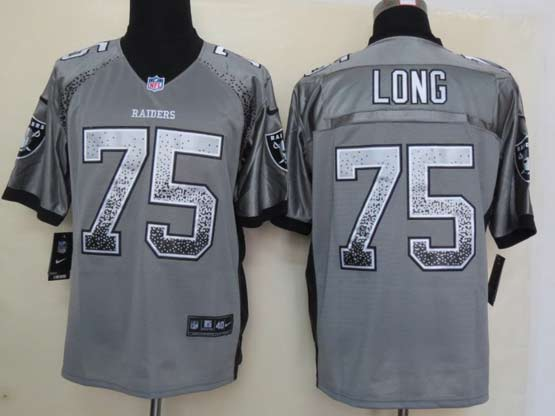 Mens Nfl Oakland Raiders #75 Long Drift Fashion Gray Elite Jersey