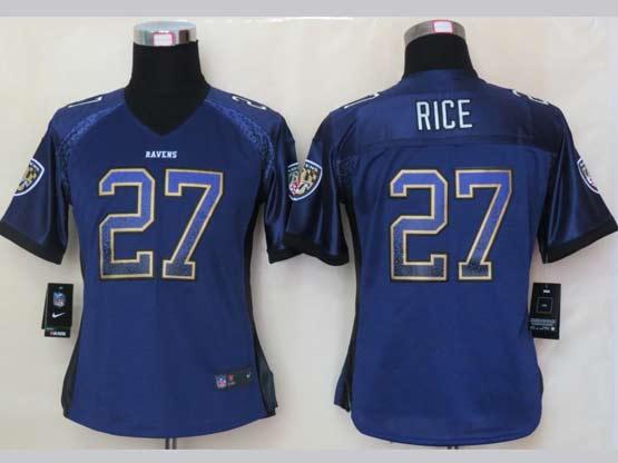 Women  Nfl Baltimore Ravens #27 Sheldon Price Purple Drift Fashion Elite Jersey