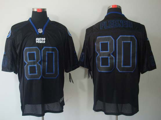 Mens Nfl Indianapolis Colts #80 Fleener Black (light Out) Elite Jersey