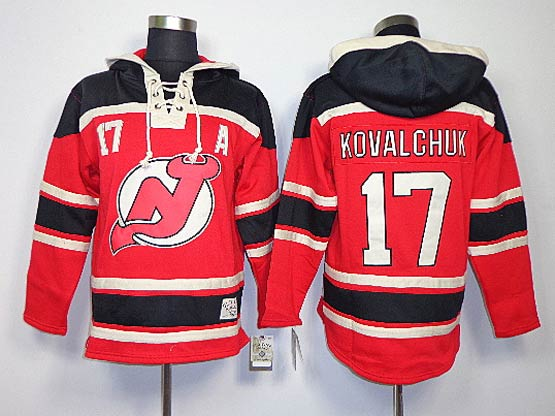 Mens nhl new jersey devils #17 kovalchuk red a patch hoodie Jersey