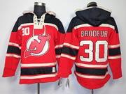 Mens nhl new jersey devils #30 brodeur red hoodie Jersey