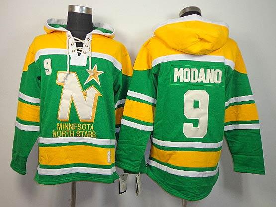 Mens nhl dallas stars #9 modano green&yellow hoodie Jersey