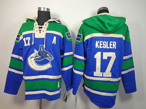 Mens nhl vancouver canucks #17 kesler blue a patch hoodie Jersey