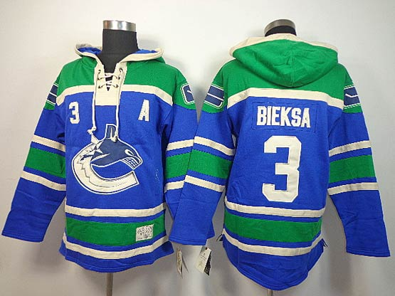 Mens nhl vancouver canucks #3 bieksa blue a patch hoodie Jersey