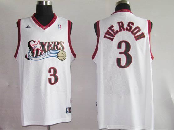 mens nba Philadelphia Sixers #3 Allen Iverson white (black number) mesh jersey