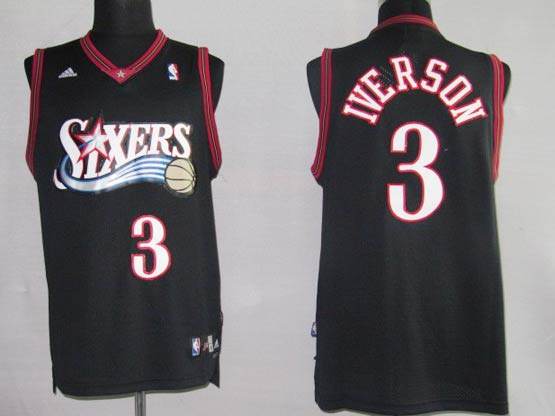 Mens Nba Philadelphia 76ers #3 Allen Iverson Black Swingman Jersey(mesh)
