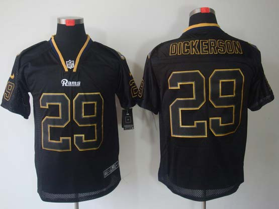 Mens Nfl St. Louis Rams #29 Dickerson Black (lights Out) Elite Jersey