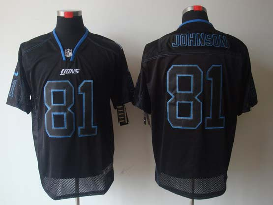 Mens Nfl Detroit Lions #81 Johnson Black (light Out) Elite Jersey