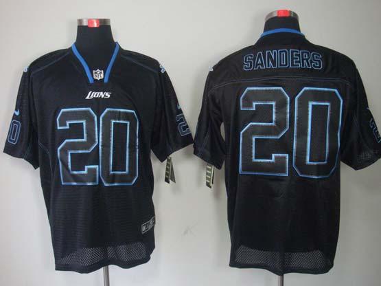 mens nfl Detroit Lions #20 Barry Sanders black (light out) elite jersey