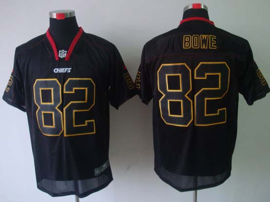 Mens Nfl Kansas City Chiefs #82 Bowe Black (light Out) Elite Jersey