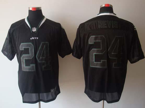 Mens Nfl New York Jets #24 Revis Black (light Out) Elite Jersey
