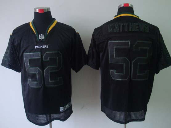Mens Nfl Green Bay Packers #52 Matthews Black (light Out) Elite Jersey