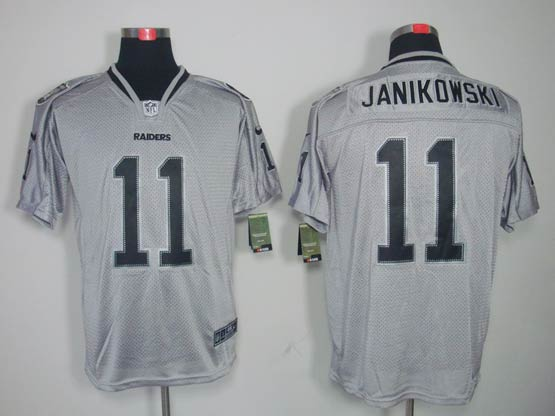 Mens Nfl Oakland Raiders #11 Janikowski Gray (light Out) Elite Jersey