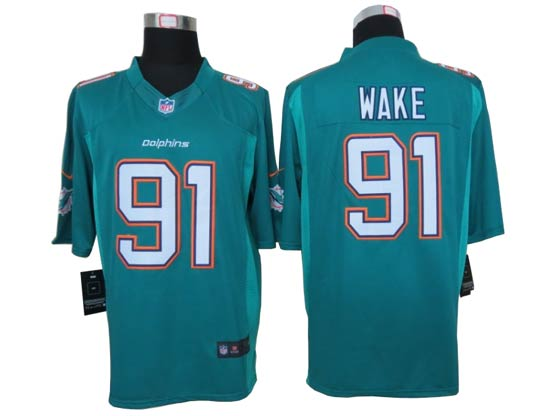 Mens Nfl Miami Dolphins #91 Wake Green (2013 New) Limited Jersey