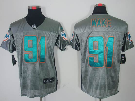 Mens Nfl Miami Dolphins #91 Wake Gray Shadow Elite Jersey