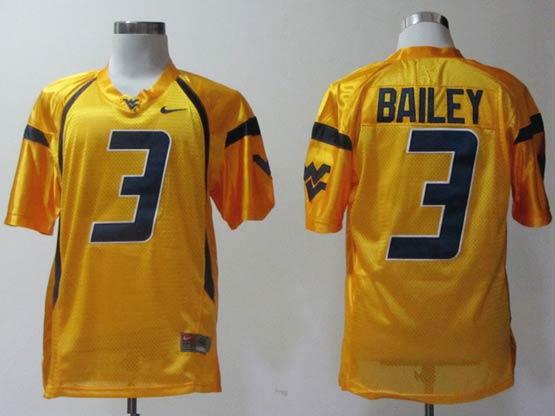 Mens Ncaa Nfl Virginia Mountaineers #3 Bailey Yellow Jersey