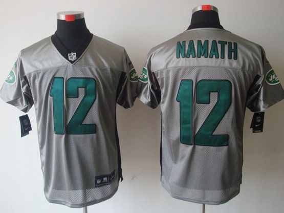 Mens Nfl New York Jets #12 Namath Gray Shadow Elite Jersey