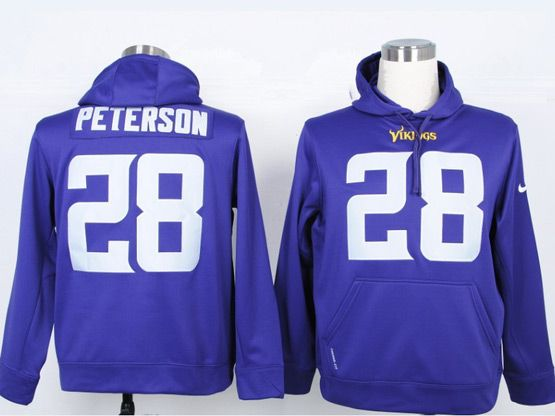 Mens Nfl Minnesota Vikings #28 Peterson Purple Hoodie Jersey