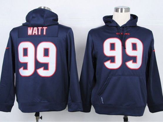 mens nfl Houston Texans #99 JJ Watt blue hoodie jersey