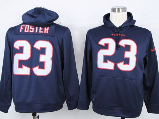 Mens Nfl Houston Texans #23 Foster Blue Hoodie Jersey