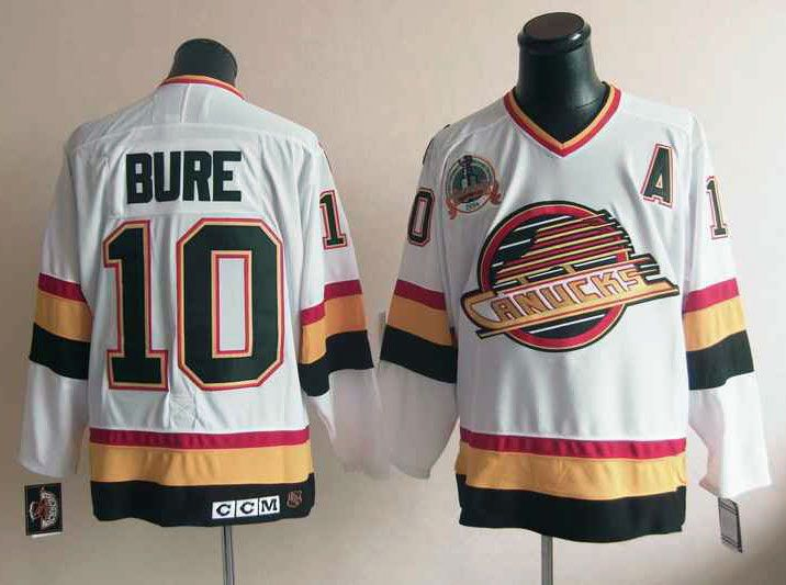 Mens nhl vancouver canucks #10 bure white throwbacks Jersey