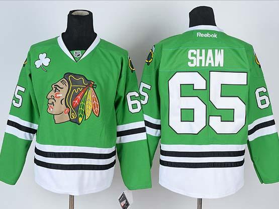 Mens reebok nhl chicago blackhawks #65 shaw green Jersey