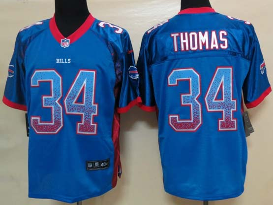 mens nfl buffalo bills #34 Thurman Thomas light blue drift fashion elite jersey