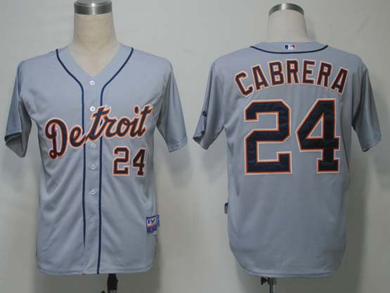 Mens Mlb Detroit Tigers #24 Cabrera Gray Jersey