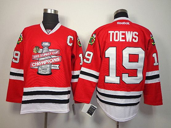 Mens nhl chicago blackhawks #19 toews red c patch (2013 stanley cup champions) Jersey