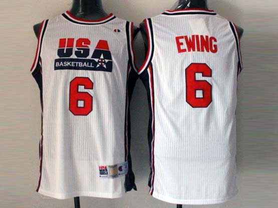 Mens Nba Usa 1 1992 #6 Ewing White Mesh Jersey