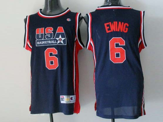 Mens Nba Usa 1 1992 #6 Ewing Blue Mesh Jersey