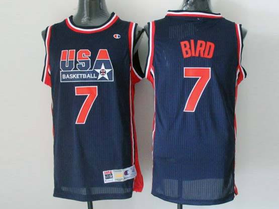 Mens Nba Usa 1 1992 #7 Bird Blue Mesh Jersey