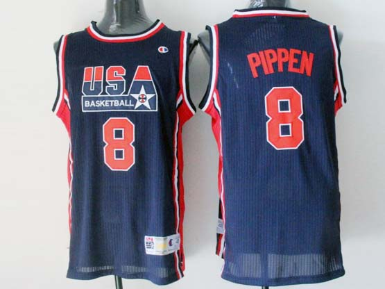 Mens Nba Usa 1 1992 #8 Pippen Blue Mesh Jersey