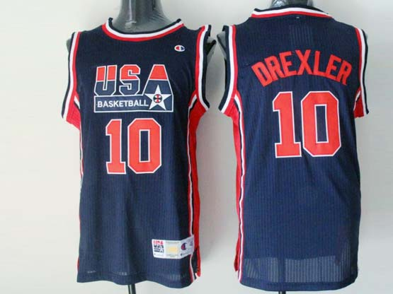 Mens Nba Usa 1 1992 #10 Drexler Blue Mesh Jersey