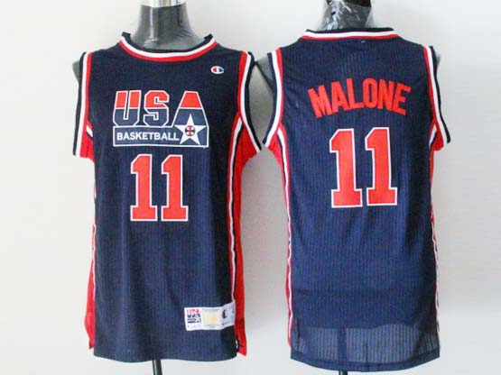 Mens Nba Usa 1 1992 #11 Malone Blue Mesh Jersey