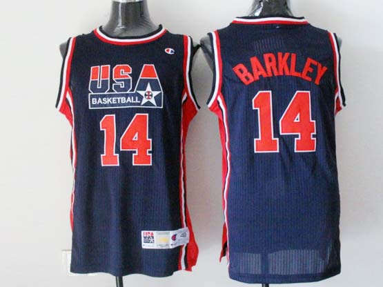 Mens Nba Usa 1 1992 #14 Barkley Blue Mesh Jersey