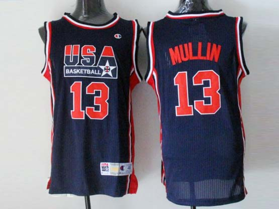 Mens Nba Usa 1 1992 #13 Mullin Blue Mesh Jersey