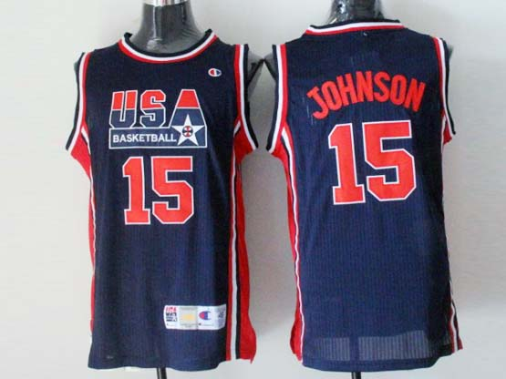 Mens Nba Usa 1 1992 #15 Johnson Blue Mesh Jersey