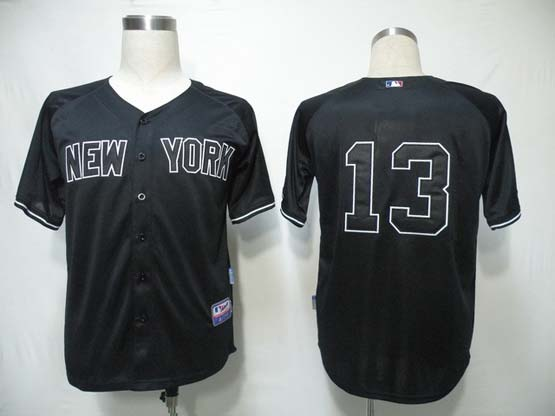 mens mlb new york yankees #13 rodriguez black Jersey(no name)